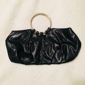 Women's black leather purse